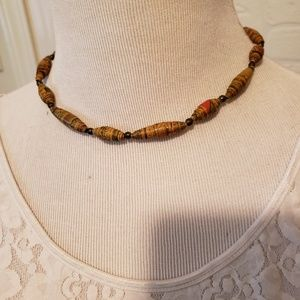 Jewelry - Rolled Paper Beaded Necklace Aztec Design